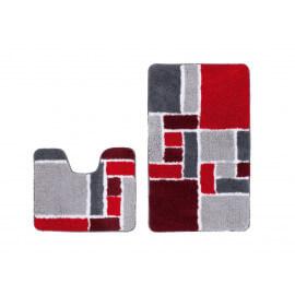 Ensemble de tapis de douche et toilette en polyester doux rouge Double Helsinki