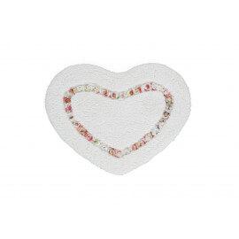 Tapis de douche crème en forme de coeur Candy
