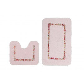 Set de tapis de wc et douche rose lavable en machine doux Double Candy