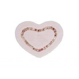 Tapis de douche rose en forme de coeur Candy