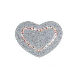 Tapis de douche argenté en forme de coeur Candy