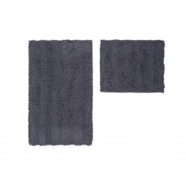 Ensemble de tapis de toilette et bain graphite lavable en machine Double Sonora