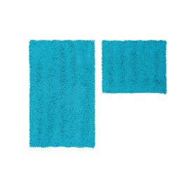 Ensemble de tapis de toilette et bain turquoise lavable en machine Double Sonora