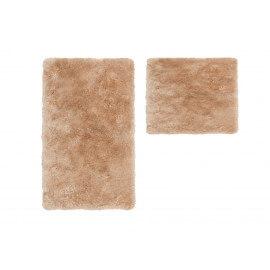 Set de tapis shaggy bain et wc beige lavable en machine Double Venezia