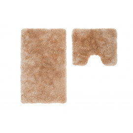 Set de tapis shaggy bain et wc beige lavable en machine Double Venezia