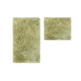 Set de tapis shaggy bain et wc vert lavable en machine Double Venezia