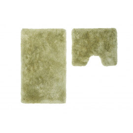 Set de tapis shaggy bain et wc vert lavable en machine Double Venezia