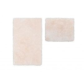 Set de tapis shaggy bain et wc ivoire lavable en machine Double Venezia