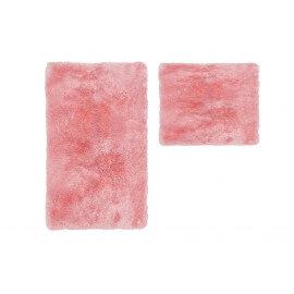 Set de tapis shaggy bain et wc rose lavable en machine Double Venezia