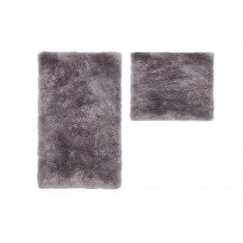 Set de tapis shaggy bain et wc argenté lavable en machine Double Venezia