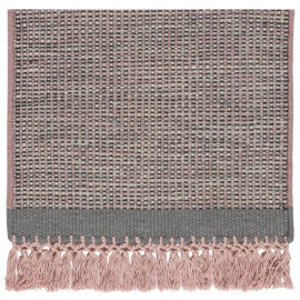 Tapis en laine avec franges rose Hyro