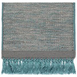 Tapis en laine avec franges bleu Hyro