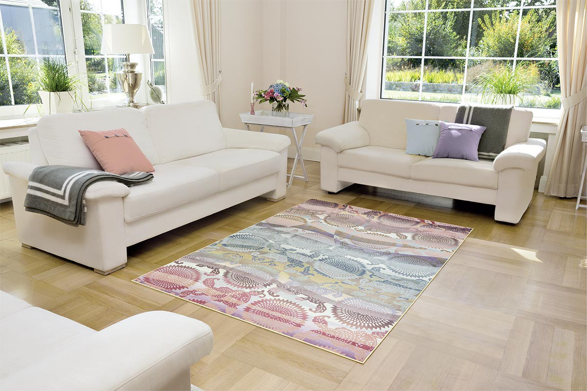 Tapis color moderne pour salon adamo for Tapis decoratif pour salon