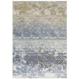 Tapis plat vintage en polyester bleu Sophia