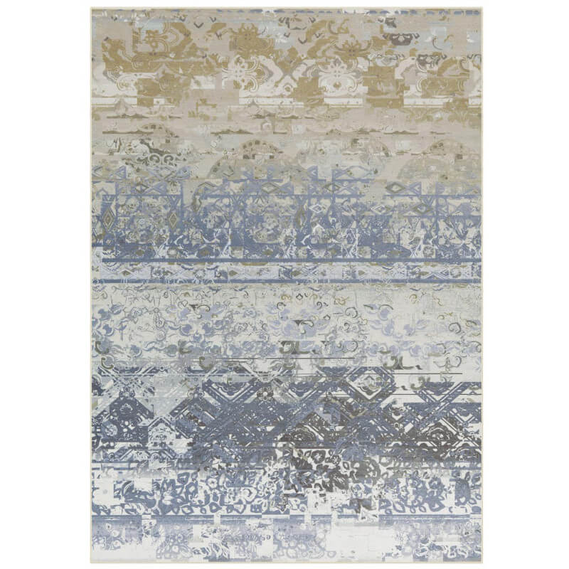 tapis plat vintage en polyester bleu sophia. Black Bedroom Furniture Sets. Home Design Ideas