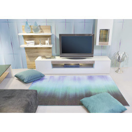 Tapis bleu de salon en polyester Svelta