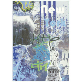 Tapis bleu style contemporain Mavrick