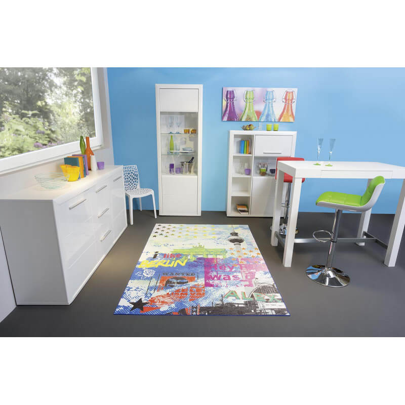 tapis moderne de salon multicolore kyliane. Black Bedroom Furniture Sets. Home Design Ideas