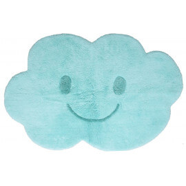 Tapis enfant lavable en machine bleu en coton Nimbus Nattiot