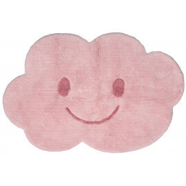 Tapis enfant lavable en machine rose en coton Nimbus Nattiot