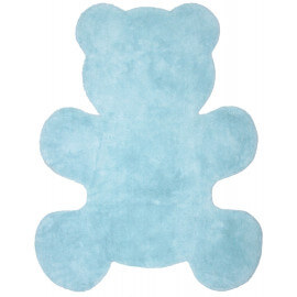 Tapis bébé bleu en coton lavable en machine Little Teddy Nattiot