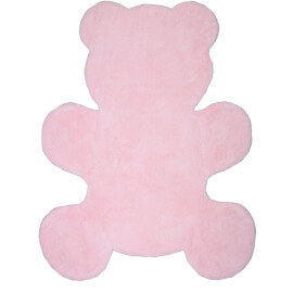 Tapis bébé rose en coton lavable en machine Little Teddy Nattiot