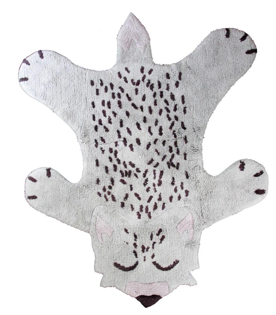 Tapis en coton antidérapant lavable en machine blanc Little Fox Nattiot
