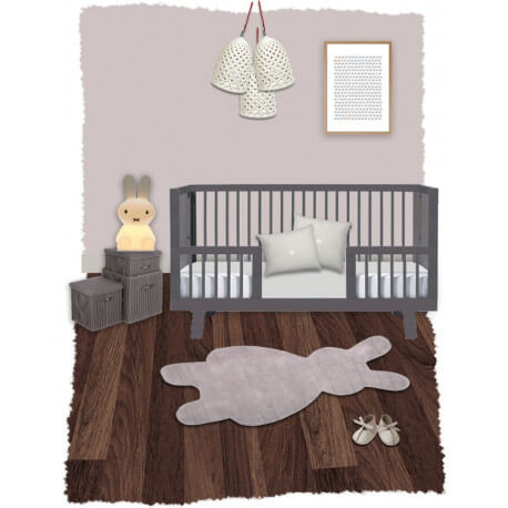 tapis tuft main en coton pour enfant gris bunny nattiot. Black Bedroom Furniture Sets. Home Design Ideas