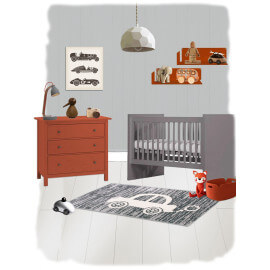 Tapis pour enfant gris rectangle Mr Car Nattiot