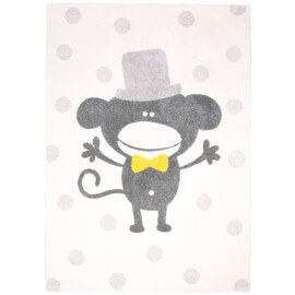 Tapis de confection belge pour enfant gris Polka Monkey Nattiot