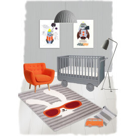 Tapis Nattiot gris pour enfant rectangle Clyde