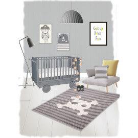 Tapis gris pour chambre d'enfant et bébé Sweet Skull Nattiot