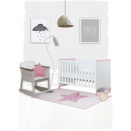 Tapis pour chambre de bébé rectangle rose Lucero Nattiot