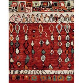 Tapis ethnique rouge pour salon en polypropylène Rodez
