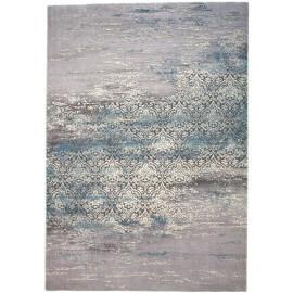 Tapis vintage rayé bleu en polyester Panja