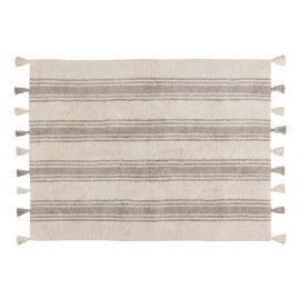 Tapis en coton naturel avec pompons Stripes Lorena Canals