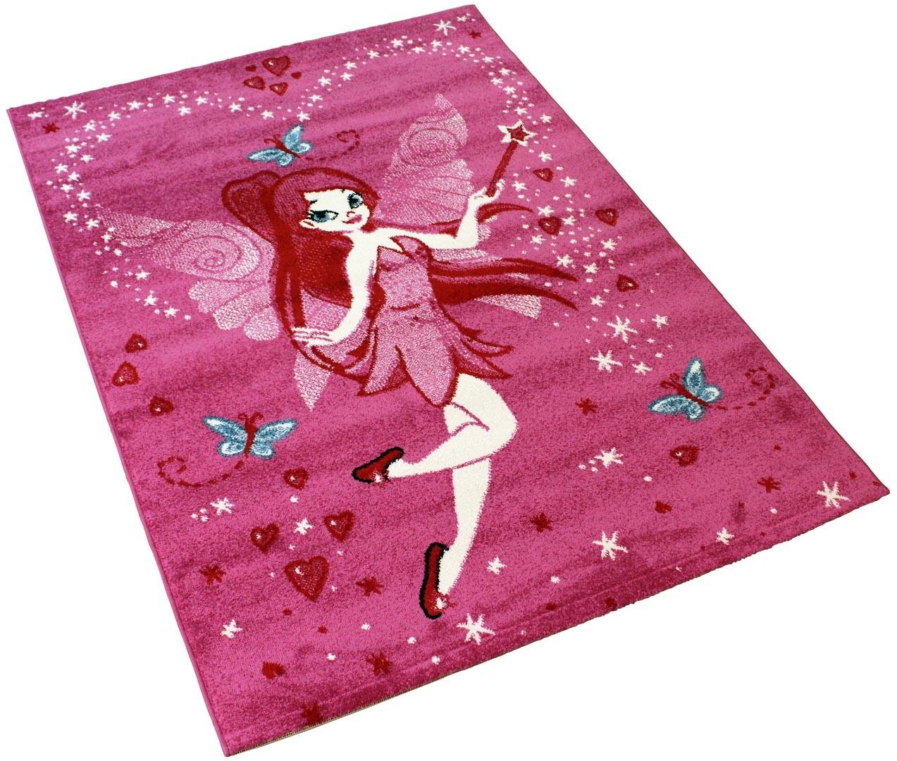 Tapis pour chambre de fille rose à courtes mèches Lisa