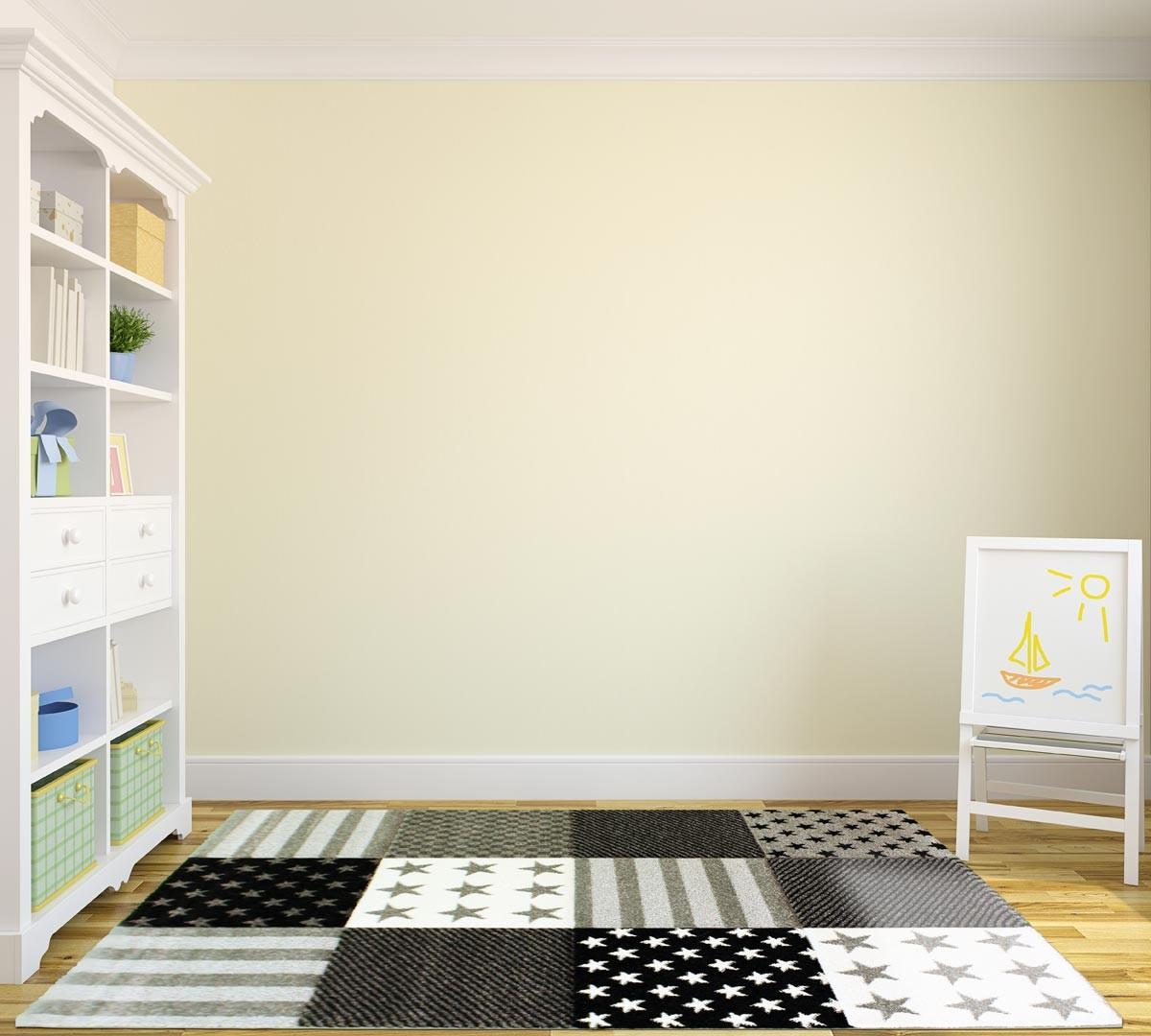 tapis patchwork pour enfant gris zak. Black Bedroom Furniture Sets. Home Design Ideas