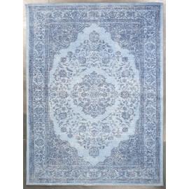 Tapis en coton bleu clair oriental pour salon Tozeur
