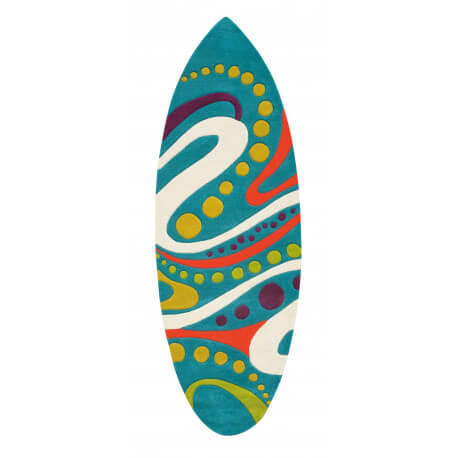 Tapis turquoise crazy surfing par Arte Espina