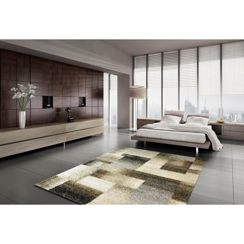 tapis g om trique beige pour salon zora. Black Bedroom Furniture Sets. Home Design Ideas