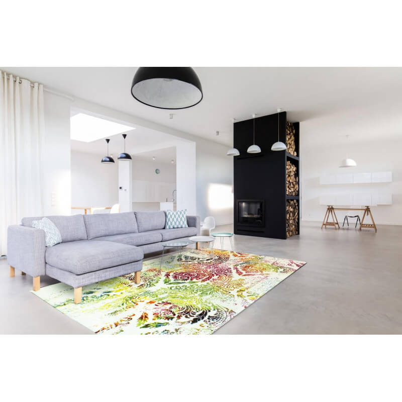 Tapis multicolore pour salon design ringa for Tapis pour salon