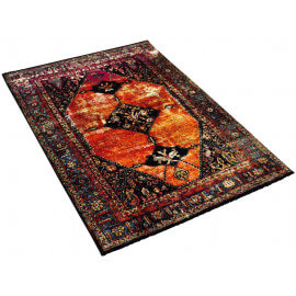 Tapis contemporain rouge vintage rectangle Clank