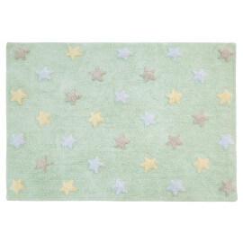 Tapis enfant menthe pastel en coton Tricolor Stars Lorena Canals