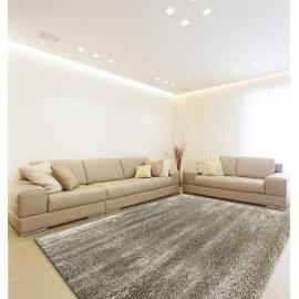 Tapis shaggy en polyester doux argenté pour intérieur Tribar
