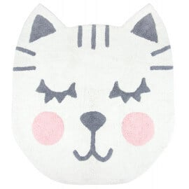 Tapis blanc tête de chat lavable en machine Betsy Nattiot