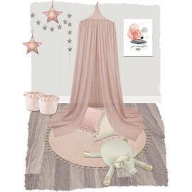 Tapis rond en jute rose avec franges et lurex Heloïse Nattiot