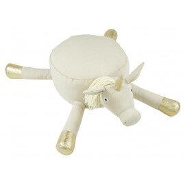Pouf en forme de licorne blanc et doré en coton Heloïse Nattiot