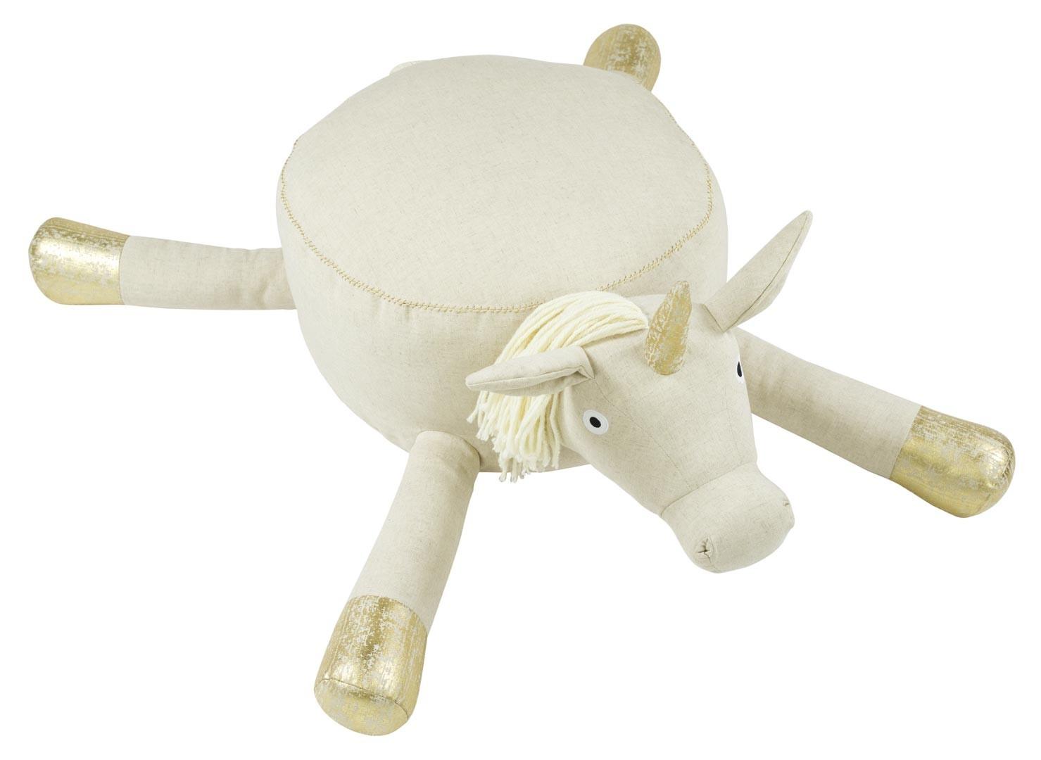 Pouf Jonc De Mer pouf en forme de licorne blanc et doré en coton heloïse nattiot