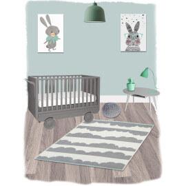 Tapis pour chambre de bébé gris et blanc en coton Daphné Nattiot